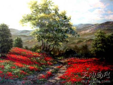 田园景 乡村风景油画 268