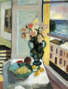 Flowers in front of a Window  亨利·马蒂斯 油画作品 Henri Matisse